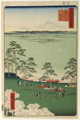 Utagawa Hiroshige (Ando) (Japanese, 1797-1858). <em>View to the North From Asukayama, No. 17 in One Hundred Famous Views of Edo</em>, 5th month of 1856. Woodblock print, Image: 13 3/8 x 8 3/4 in. (34 x 22.2 cm). Brooklyn Museum, Gift of Anna Ferris, 30.1478.17 (Photo: Brooklyn Museum, 30.1478.17_PS1.jpg)