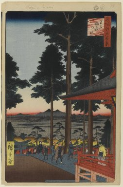 Utagawa Hiroshige (Ando) (Japanese, 1797-1858). <em>Oji Inari Shrine, No. 18 in One Hundred Famous Views of Edo</em>, 9th month of 1857. Woodblock print, Image: 13 3/16 x 8 5/8 in. (33.5 x 21.9 cm). Brooklyn Museum, Gift of Anna Ferris, 30.1478.18 (Photo: Brooklyn Museum, 30.1478.18_PS1.jpg)