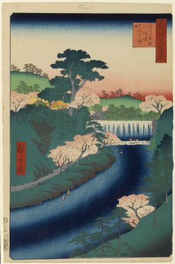 Utagawa Hiroshige (Ando) (Japanese, 1797-1858). <em>Dam on the Otonashi River at Oji, No. 19 in One Hundred Famous Views of Edo</em>, 2nd month of 1857. Woodblock print, Image: 13 15/16 x 8 15/16 in. (35.4 x 22.7 cm). Brooklyn Museum, Gift of Anna Ferris, 30.1478.19 (Photo: Brooklyn Museum, 30.1478.19_PS1.jpg)