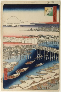 Utagawa Hiroshige (Ando) (Japanese, 1797-1858). <em>Nihonbashi, Clearing After Snow, No. 1 in One Hundred Famous Views of Edo</em>, 5th month of 1856. Woodblock print, Image: 13 3/8 x 8 3/4 in. (34 x 22.2 cm). Brooklyn Museum, Gift of Anna Ferris, 30.1478.1 (Photo: Brooklyn Museum, 30.1478.1_PS1.jpg)