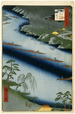 Utagawa Hiroshige (Ando) (Japanese, 1797-1858). <em>The Kawaguchi Ferry and Zenkoji Temple, No. 20 in One Hundred Famous Views of Edo</em>, 2nd month of 1857. Woodblock print, Image: 13 3/8 x 9 in. (34 x 22.9 cm). Brooklyn Museum, Gift of Anna Ferris, 30.1478.20 (Photo: Brooklyn Museum, 30.1478.20_IMLS_SL2.jpg)