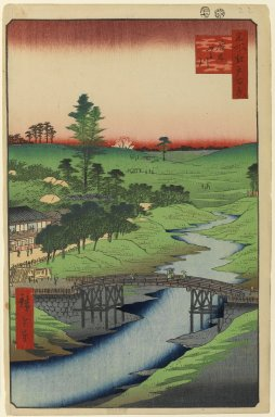 Utagawa Hiroshige (Ando) (Japanese, 1797-1858). <em>Furukawa River, Hiroo, No. 22 in One Hundred Famous Views of Edo</em>, 7th month of 1856. Woodblock print, Image: 12 7/8 x 8 3/4 in. (32.7 x 22.2 cm). Brooklyn Museum, Gift of Anna Ferris, 30.1478.22 (Photo: Brooklyn Museum, 30.1478.22_PS1.jpg)