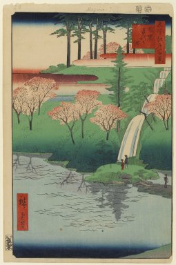 Utagawa Hiroshige (Ando) (Japanese, 1797-1858). <em>Chiyogaike Pond, Meguro, No. 23 in One Hundred Famous Views of Edo</em>, 7th month of 1856. Woodblock print, Image: 13 5/16 x 8 3/4 in. (33.8 x 22.2 cm). Brooklyn Museum, Gift of Anna Ferris, 30.1478.23 (Photo: Brooklyn Museum, 30.1478.23_PS1.jpg)