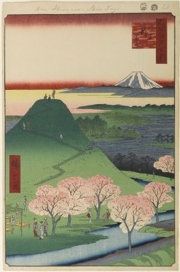 Utagawa Hiroshige (Ando) (Japanese, 1797-1858). <em>New Fuji, Meguro, No. 24 in One Hundred Famous Views of Edo</em>, 4th month of 1857. Woodblock print, Image: 13 7/16 x 9 in. (34.1 x 22.9 cm). Brooklyn Museum, Gift of Anna Ferris, 30.1478.24 (Photo: Brooklyn Museum, 30.1478.24_PS1.jpg)