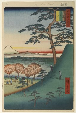 Utagawa Hiroshige (Ando) (Japanese, 1797-1858). <em>Original Fuji, Meguro, No. 25 in One Hundred Famous Views of Edo</em>, 4th month of 1857. Woodblock print, Image: 13 5/8 x 9 in. (34.6 x 22.9 cm). Brooklyn Museum, Gift of Anna Ferris, 30.1478.25 (Photo: Brooklyn Museum, 30.1478.25_PS1.jpg)