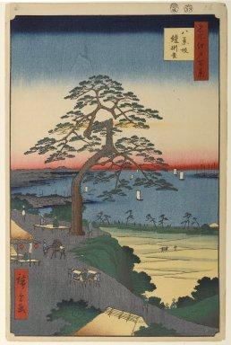Utagawa Hiroshige (Ando) (Japanese, 1797-1858). <em>Armor-Hanging Pine, Hakkeisaka, No. 26 in One Hundred Famous Views of Edo</em>, 5th month of 1856. Woodblock print, Image: 13 11/16 x 8 7/8 in. (34.8 x 22.5 cm). Brooklyn Museum, Gift of Anna Ferris, 30.1478.26 (Photo: Brooklyn Museum, 30.1478.26_PS1.jpg)