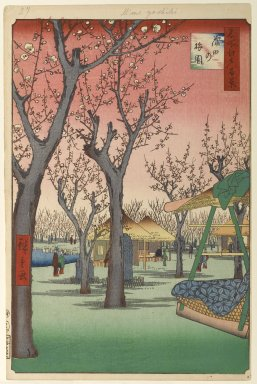 Utagawa Hiroshige (Ando) (Japanese, 1797-1858). <em>Plum Garden, Kamata (Kamata no Umezono), No. 27 from One Hundred Famous Views of Edo</em>, 2nd month of1857. Woodblock print, Image: 13 3/8 x 9 in. (34 x 22.9 cm). Brooklyn Museum, Gift of Anna Ferris, 30.1478.27 (Photo: Brooklyn Museum, 30.1478.27_PS1.jpg)