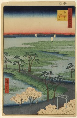 Utagawa Hiroshige (Ando) (Japanese, 1797-1858). <em>Moto-Hachiman Shrine, Sumamura, No. 29 in One Hundred Famous Views of Edo</em>, 4th month of 1856. Woodblock print, Image: 13 3/8 x 9 in. (34 x 22.9 cm). Brooklyn Museum, Gift of Anna Ferris, 30.1478.29 (Photo: Brooklyn Museum, 30.1478.29_PS1.jpg)