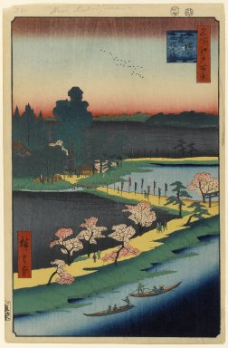 Utagawa Hiroshige (Ando) (Japanese, 1797-1858). <em>Asuma Shrine and the Entwined Camphor, No. 31 in One Hundred Famous Views of Edo</em>, 7th month of 1857. Woodblock print, Image: 13 3/8 x 8 3/4 in. (34 x 22.2 cm). Brooklyn Museum, Gift of Anna Ferris, 30.1478.31 (Photo: Brooklyn Museum, 30.1478.31_PS1.jpg)