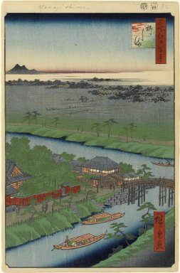 Utagawa Hiroshige (Ando) (Japanese, 1797-1858). <em>Yanagishima, No. 32 in One Hundred Famous Views of Edo</em>, 4th month of 1857. Woodblock print, Image: 13 3/8 x 9 in. (34 x 22.9 cm). Brooklyn Museum, Gift of Anna Ferris, 30.1478.32 (Photo: Brooklyn Museum, 30.1478.32_PS1.jpg)