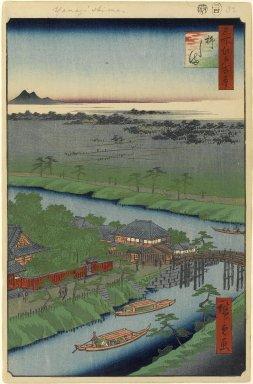 Utagawa Hiroshige (Ando) (Japanese, 1797-1858). <em>Yanagishima, No. 32 in One Hundred Famous Views of Edo</em>, 4th month of 1857. Woodblock print, Image: 13 3/8 x 9 in. (34 x 22.9 cm). Brooklyn Museum, Gift of Anna Ferris, 30.1478.32 (Photo: Brooklyn Museum, 30.1478.32_PS1.jpg)
