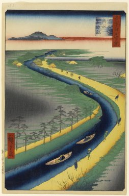 Utagawa Hiroshige (Ando) (Japanese, 1797-1858). <em>Towboats Along the Yotsugi-dori Canal, No. 33 in One Hundred Famous Views of Edo</em>, 2nd month of 1857. Woodblock print, Sheet: 14 1/4 x 9 1/8 in. (36.2 x 23.2 cm). Brooklyn Museum, Gift of Anna Ferris, 30.1478.33 (Photo: Brooklyn Museum, 30.1478.33_PS1.jpg)