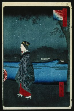 Utagawa Hiroshige (Ando) (Japanese, 1797-1858). <em>Night View of the Matsuchiyama and Sam'ya Canal (Matsuchiyama San'yabori Yakei), No. 34 from One Hundred Famous Views of Edo</em>, 8th month of 1857. Woodblock print, Sheet: 14 3/16 x 9 1/4 in. (36 x 23.5 cm). Brooklyn Museum, Gift of Anna Ferris, 30.1478.34 (Photo: Brooklyn Museum, 30.1478.34_IMLS_SL2.jpg)
