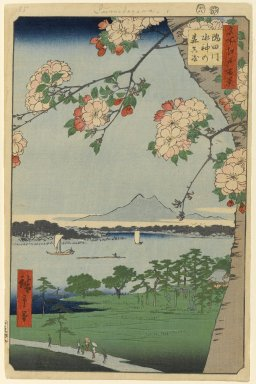 Utagawa Hiroshige (Ando) (Japanese, 1797-1858). <em>Suijin Shrine and Massaki on the Sumida River (Sumidagawa Suijin no Mori Massaki), No. 35 from One Hundred Famous Views of Edo</em>, 8th month of 1856. Woodblock print, Sheet: 14 3/16 x 9 1/4 in. (36 x 23.5 cm). Brooklyn Museum, Gift of Anna Ferris, 30.1478.35 (Photo: Brooklyn Museum, 30.1478.35_PS1.jpg)