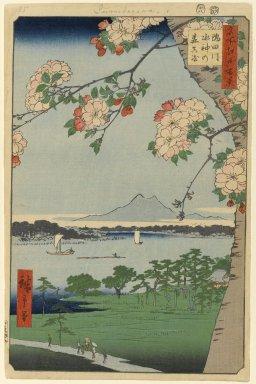 Utagawa Hiroshige (Ando) (Japanese, 1797-1858). <em>Suijin Shrine and Massaki on the Sumida River (Sumidagawa Suijin no Mori Massaki), No. 35 from One Hundred Famous Views of Edo</em>, 8th month of 1856. Woodblock print, Sheet: 14 3/16 x 9 1/4 in. (36 x 23.5 cm). Brooklyn Museum, Gift of Anna Ferris, 30.1478.35 (Photo: Brooklyn Museum, 30.1478.35_PS1.jpg)