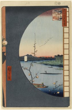 Utagawa Hiroshige (Ando) (Japanese, 1797-1858). <em>View From Massaki of Suijin Shrine, Uchigawa Inlet, and Sekiya, No. 36 in One Hundred Famous Views of Edo</em>, 8th month of 1857. Woodblock print, 14 1/4 x 9 1/4 in. (36.2 x 23.5 cm). Brooklyn Museum, Gift of Anna Ferris, 30.1478.36 (Photo: Brooklyn Museum, 30.1478.36_PS1.jpg)