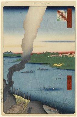 Utagawa Hiroshige (Ando) (Japanese, 1797-1858). <em>Tile Kilns and Hashiba Ferry, Sumida River (Sumidagawa Hashiba no Watashi Kawaragawa), No. 37 from One Hundred Famous Views of Edo</em>, 4th month of 1857. Woodblock print, Sheet: 14 1/4 x 9 7/16 in. (36.2 x 23.9 cm). Brooklyn Museum, Gift of Anna Ferris, 30.1478.37 (Photo: Brooklyn Museum, 30.1478.37_PS1.jpg)