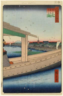 Utagawa Hiroshige (Ando) (Japanese, 1797-1858). <em>Distant View of Kinryuzan Temple and Azuma Bridge (Azumabashi Kinryuzan Enbo), No. 39 from One Hundred Famous Views of Edo</em>, 8th month of 1857. Woodblock print, 14 1/4 x 9 5/16in. (36.2 x 23.7cm). Brooklyn Museum, Gift of Anna Ferris, 30.1478.39 (Photo: Brooklyn Museum, 30.1478.39_PS1.jpg)