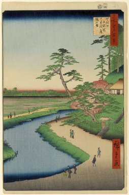 Utagawa Hiroshige (Ando) (Japanese, 1797-1858). <em>Basho's Hermitage and Camellia Hill on the Kanda Aqueduct at Sekiguchi, No. 40 in One Hundred Famous Views of Edo</em>, 4th month of 1857. Woodblock print, 14 5/16 x 9 5/16in. (36.4 x 23.7cm). Brooklyn Museum, Gift of Anna Ferris, 30.1478.40 (Photo: Brooklyn Museum, 30.1478.40_PS1.jpg)