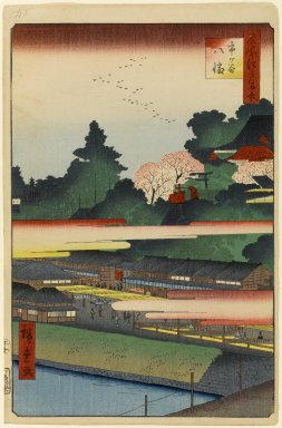 Utagawa Hiroshige (Ando) (Japanese, 1797-1858). <em>Ichigaya Hachiman Shrine, No. 41 in One Hundred Famous Views of Edo</em>, 10th month of 1858. Woodblock print, 14 3/16 x 9 5/16in. (36 x 23.7cm). Brooklyn Museum, Gift of Anna Ferris, 30.1478.41 (Photo: Brooklyn Museum, 30.1478.41_PS1.jpg)