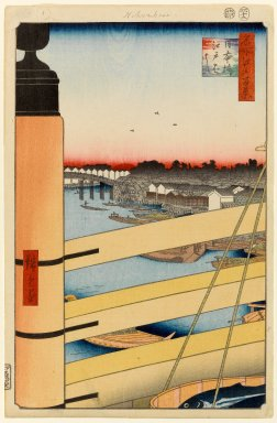 Utagawa Hiroshige (Ando) (Japanese, 1797-1858). <em>Nihonbashi Bridge and Edobashi Bridge (Nihonbashi to Edobashi), No. 43 from One Hundred Famous Views of Edo</em>, 12th month of 1857. Woodblock print, 14 1/4 x 9 1/4in. (36.2 x 23.5cm). Brooklyn Museum, Gift of Anna Ferris, 30.1478.43 (Photo: Brooklyn Museum, 30.1478.43_PS1.jpg)