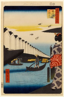 Utagawa Hiroshige (Ando) (Japanese, 1797-1858). <em>Yoroi Ferry, Koami-cho (Yoroi no Watashi Koami-cho), No. 46 from One Hundred Famous Views of Edo</em>, 10th month of 1857. Woodblock print, 14 1/4 x 9 1/4in. (36.2 x 23.5cm). Brooklyn Museum, Gift of Anna Ferris, 30.1478.46 (Photo: Brooklyn Museum, 30.1478.46_PS1.jpg)