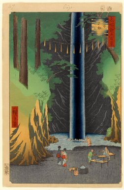 Utagawa Hiroshige (Ando) (Japanese, 1797-1858). <em>Fudo Falls, Oji, No. 49 from One Hundred Famous Views of Edo</em>, 9th month of 1857. Woodblock print, Sheet: 14 1/4 x 9 5/16 in. (36.2 x 23.7 cm). Brooklyn Museum, Gift of Anna Ferris, 30.1478.49 (Photo: Brooklyn Museum, 30.1478.49_PS1.jpg)