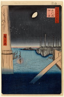 Utagawa Hiroshige (Ando) (Japanese, 1797-1858). <em>Tsukudajima From Eitai Bridge, No. 4 in One Hundred Famous Views of Edo</em>, 2nd month of 1857. Woodblock print, Image: 13 3/8 x 9 in. (34 x 22.9 cm). Brooklyn Museum, Gift of Anna Ferris, 30.1478.4 (Photo: Brooklyn Museum, 30.1478.4_PS1.jpg)