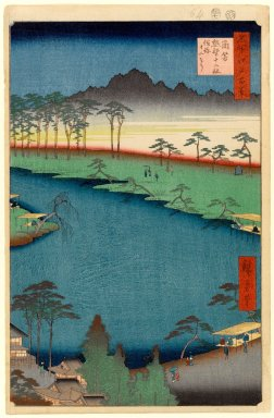 Utagawa Hiroshige (Ando) (Japanese, 1797-1858). <em>Kumano Junisha Shrine, Tsunohazu, No. 50 in One Hundred Famous Views of Edo</em>, 7th month of 1856. Woodblock print, Sheet: 14 3/16 x 9 3/16 in. (36 x 23.3 cm). Brooklyn Museum, Gift of Anna Ferris, 30.1478.50 (Photo: Brooklyn Museum, 30.1478.50_PS1.jpg)