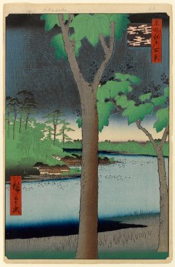 Utagawa Hiroshige (Ando) (Japanese, 1797-1858). <em>Akasaka Kiribatake, No. 52 from One Hundred Famous Views of Edo</em>, 4th month of 1856. Woodblock print, Sheet: 14 1/4 x 9 5/16 in. (36.2 x 23.7 cm). Brooklyn Museum, Gift of Anna Ferris, 30.1478.52 (Photo: Brooklyn Museum, 30.1478.52_PS1.jpg)