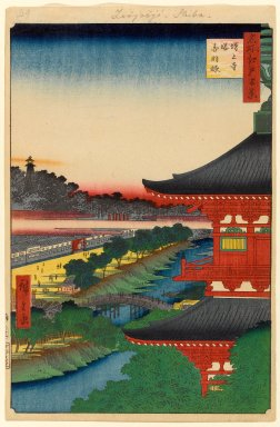 Utagawa Hiroshige (Ando) (Japanese, 1797-1858). <em>Zojoji Pagoda and Akabane, No. 53 from One Hundred Famous Views of Edo</em>, 1st month of 1857. Woodblock print, Sheet: 14 1/4 x 9 5/16 in. (36.2 x 23.7 cm). Brooklyn Museum, Gift of Anna Ferris, 30.1478.53 (Photo: Brooklyn Museum, 30.1478.53_PS1.jpg)