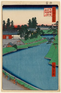 Utagawa Hiroshige (Ando) (Japanese, 1797-1858). <em>Benkei Moat From Soto-Sakurada to Kojimachi, No. 54 from One Hundred Famous Views of Edo</em>, 5th month of 1856. Woodblock print, Sheet: 14 5/16 x 9 5/16 in. (36.4 x 23.7 cm). Brooklyn Museum, Gift of Anna Ferris, 30.1478.54 (Photo: Brooklyn Museum, 30.1478.54_PS1.jpg)