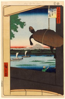 Utagawa Hiroshige (Ando) (Japanese, 1797-1858). <em>Mannen Bridge, Fukagawa (Fukagawa Mannenbashi), No. 56 from One Hundred Famous Views of Edo</em>, 11th month of 1857. Woodblock print, Sheet: 14 1/4 x 9 5/16 in. (36.2 x 23.6 cm). Brooklyn Museum, Gift of Anna Ferris, 30.1478.56 (Photo: Brooklyn Museum, 30.1478.56_PS1.jpg)