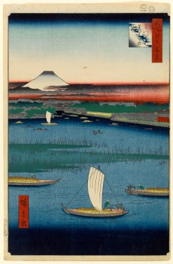 Utagawa Hiroshige (Ando) (Japanese, 1797-1858). <em>Mitsumata Wakarenofuchi, No. 57 from One Hundred Famous Views of Edo</em>, 2nd month of 1857. Woodblock print, Sheet: 14 1/4 x 9 5/16 in. (36.2 x 23.7 cm). Brooklyn Museum, Gift of Anna Ferris, 30.1478.57 (Photo: Brooklyn Museum, 30.1478.57_PS1.jpg)