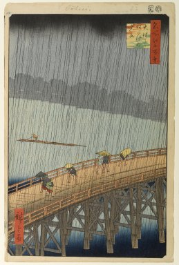 Utagawa Hiroshige (Ando) (Japanese, 1797-1858). <em>Sudden Shower Over Shin-Ohashi Bridge and Atake (Ohashi Atake no Yudachi), No. 58 from One Hundred Famous Views of Edo</em>, 9th month of 1857. Woodblock print, Sheet: 14 3/16 x 9 1/8 in. (36.1 x 23.1 cm). Brooklyn Museum, Gift of Anna Ferris, 30.1478.58 (Photo: Brooklyn Museum, 30.1478.58_PS1.jpg)