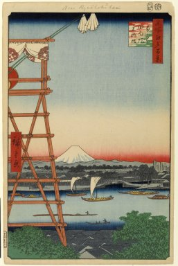 Utagawa Hiroshige (Ando) (Japanese, 1797-1858). <em>Ryogoku Ekoin and Moto-Yanagibashi Bridge, No. 5 in One Hundred Famous Views of Edo</em>, 5th month of 1857. Woodblock print, Image: 13 3/8 x 8 3/4 in. (34 x 22.2 cm). Brooklyn Museum, Gift of Anna Ferris, 30.1478.5 (Photo: Brooklyn Museum, 30.1478.5_PS1.jpg)