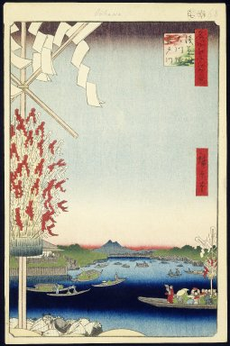 Utagawa Hiroshige (Ando) (Japanese, 1797-1858). <em>Asakusa River, Great Riverbank, Miyato River, No. 60 from One Hundred Famous Views of Edo</em>, 7th month of 1857. Woodblock print, Sheet: 14 5/16 x 9 5/16 in. (36.4 x 23.7 cm). Brooklyn Museum, Gift of Anna Ferris, 30.1478.60 (Photo: Brooklyn Museum, 30.1478.60_IMLS_SL2.jpg)