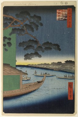 Utagawa Hiroshige (Ando) (Japanese, 1797-1858). <em>Pine of Success and Oumayagashi, Asakusa River, No. 61 from One Hundred Famous Views of Edo</em>, 8th month of 1856. Woodblock print, Sheet: 14 1/4 x 9 5/16 in. (36.2 x 23.7 cm). Brooklyn Museum, Gift of Anna Ferris, 30.1478.61 (Photo: Brooklyn Museum, 30.1478.61_PS1.jpg)