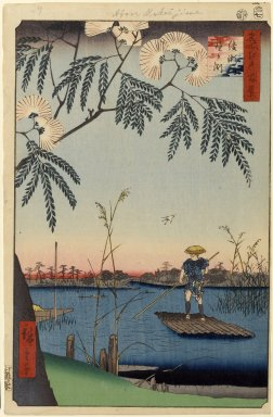 Utagawa Hiroshige (Ando) (Japanese, 1797-1858). <em>Ayase River and Kanegafuchi, No. 63 from One Hundred Famous Views of Edo</em>, 7th month of 1857. Woodblock print, Sheet: 14 1/4 x 9 5/16 in. (36.2 x 23.7 cm). Brooklyn Museum, Gift of Anna Ferris, 30.1478.63 (Photo: Brooklyn Museum, 30.1478.63_PS1.jpg)