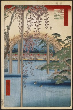 Utagawa Hiroshige (Ando) (Japanese, 1797-1858). <em>Inside Kameido Tenjin Shrine (Kameido Tenjin Keidai), No. 65 from One Hundred Famous Views of Edo</em>, 7th month of 1856. Woodblock print, Image: 13 7/16 x 8 3/4 in. (34.1 x 22.2 cm). Brooklyn Museum, Gift of Anna Ferris, 30.1478.65 (Photo: Brooklyn Museum, 30.1478.65_large_SL1.jpg)