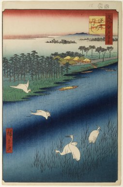 Utagawa Hiroshige (Ando) (Japanese, 1797-1858). <em>Sakasai Ferry, No. 67 from One Hundred Famous Views of Edo</em>, 2nd month of 1857. Woodblock print, Image: 13 1/2 x 9 in. (34.3 x 22.9 cm). Brooklyn Museum, Gift of Anna Ferris, 30.1478.67 (Photo: Brooklyn Museum, 30.1478.67_PS1.jpg)