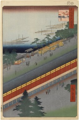 Utagawa Hiroshige (Ando) (Japanese, 1797-1858). <em>Hall of Thirty-Three Bays, Fukagawa, No. 69 from One Hundred Famous Views of Edo</em>, 8th month of 1857. Woodblock print, Sheet: 14 1/4 x 9 5/16 in. (36.2 x 23.7 cm). Brooklyn Museum, Gift of Anna Ferris, 30.1478.69 (Photo: Brooklyn Museum, 30.1478.69_PS1.jpg)