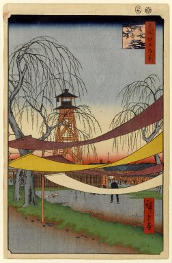 Utagawa Hiroshige (Ando) (Japanese, 1797-1858). <em>Hatsune Riding Grounds, Bakuro-cho, No. 6 in One Hundred Famous Views of Edo</em>, 9th month of 1857. Woodblock print, Image: 13 1/4 x 8 5/8 in. (33.7 x 21.9 cm). Brooklyn Museum, Gift of Anna Ferris, 30.1478.6 (Photo: Brooklyn Museum, 30.1478.6_PS1.jpg)