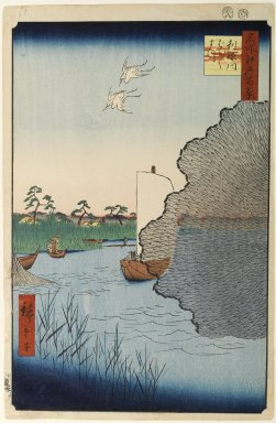 Utagawa Hiroshige (Ando) (Japanese, 1797-1858). <em>Scattered Pines, Tone River, No. 71 from One Hundred Famous Views of Edo</em>, 8th month of 1856. Woodblock print, Image: 13 1/4 x 8 11/16 in. (33.7 x 22 cm). Brooklyn Museum, Gift of Anna Ferris, 30.1478.71 (Photo: Brooklyn Museum, 30.1478.71_PS1.jpg)