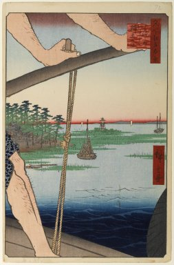 Utagawa Hiroshige (Ando) (Japanese, 1797-1858). <em>Haneda Ferry and Benten Shrine (Haneda no Watashi Benten), No. 72 from One Hundred Famous Views of Edo</em>, 8th month of 1858. Woodblock print, Sheet: 14 1/4 x 9 1/4 in. (36.2 x 23.5 cm). Brooklyn Museum, Gift of Anna Ferris, 30.1478.72 (Photo: Brooklyn Museum, 30.1478.72_PS1.jpg)