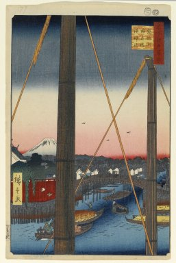 Utagawa Hiroshige (Ando) (Japanese, 1797-1858). <em>Inari Bridge and Minato Shrine, Teppozu, No. 77 from One Hundred Famous Views of Edo</em>, 2nd month of 1857. Woodblock print, Sheet: 14 3/16 x 9 1/4 in. (36 x 23.5 cm). Brooklyn Museum, Gift of Anna Ferris, 30.1478.77 (Photo: Brooklyn Museum, 30.1478.77_PS1.jpg)