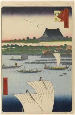 Utagawa Hiroshige (Ando) (Japanese, 1797-1858). <em>Teppozu and Tsukiji Honganji Temple, No. 78 from One Hundred Famous Views of Edo</em>, 7th month of 1858. Woodblock print, Sheet: 14 3/16 x 9 1/4 in. (36 x 23.5 cm). Brooklyn Museum, Gift of Anna Ferris, 30.1478.78 (Photo: Brooklyn Museum, 30.1478.78_PS1.jpg)