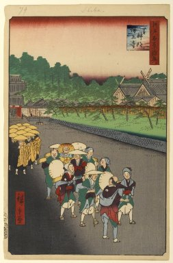 Utagawa Hiroshige (Ando) (Japanese, 1797-1858). <em>Shiba Shinmei Shrine and Zojoji Temple, No. 79 from One Hundred Famous Views of Edo</em>, 7th month of 1858. Woodblock print, Sheet: 14 3/16 x 9 1/4 in. (36 x 23.5 cm). Brooklyn Museum, Gift of Anna Ferris, 30.1478.79 (Photo: Brooklyn Museum, 30.1478.79_PS1.jpg)