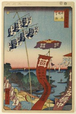 Utagawa Hiroshige (Ando) (Japanese, 1797-1858). <em>Kanasugi Bridge and Shibaura, No. 80 from One Hundred Famous Views of Edo</em>, 7th month of 1857. Woodblock print, Sheet: 14 3/16 x 9 1/4 in. (36 x 23.5 cm). Brooklyn Museum, Gift of Anna Ferris, 30.1478.80 (Photo: Brooklyn Museum, 30.1478.80_PS1.jpg)