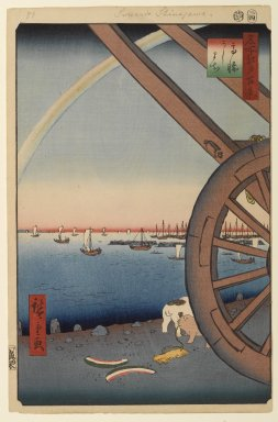 Utagawa Hiroshige (Ando) (Japanese, 1797-1858). <em>Ushimachi, Takanawa, No. 81 from One Hundred Famous Views of Edo</em>, 4th month of 1857. Woodblock print, Sheet: 14 3/16 x 9 1/4 in. (36 x 23.5 cm). Brooklyn Museum, Gift of Anna Ferris, 30.1478.81 (Photo: Brooklyn Museum, 30.1478.81_PS1.jpg)